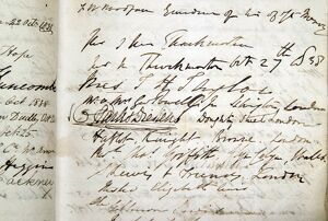 Charles Dickens' signature in Birthplace visitor book, 1838