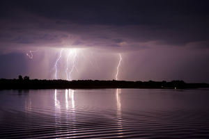 Thunderstorm, Lake Tisza, Hortobagy National Park, Hungary, July 2009