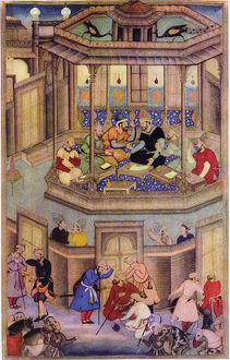 A 16th century illustration of a 14th century Persian story 'The History of