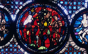 adam eve the fall man stained glass chartres
