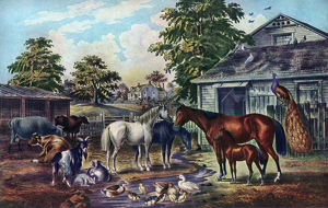 'American Farm Yard in the Morning', 1857. Artist: Currier and Ives