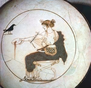 Apollo offering a libation to the raven, kylix, 5th century BC