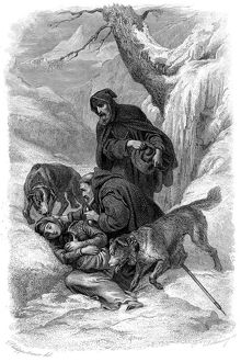 Augustinian canons and their St Bernard dogs rescuing a traveller, Switzerland. Artist