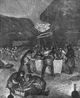 Balloon ascent at night from Gare du Nord, Paris, Franco-Prussian War. Artist: Unknown