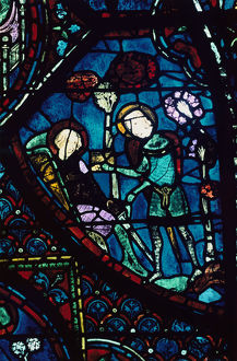 baudoin tends dying roland stained glass chartres