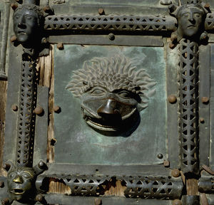 Detail of the bronze door of the Basilica of San Zeno which is decorated with 48