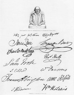 Bust of Shakespeare and signatures of celebrated actors, (1840). Artist: Unknown