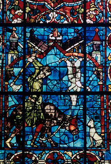 butchers stained glass chartres cathedral france