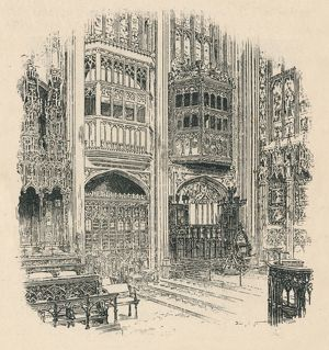 'Choir Stalls and Royal Closet, St. George's Chapel', 1895. Artist: Unknown.