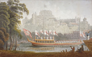 City of London State Barge moving up the River Thames, Windsor, Berkshire, 1812. Artist