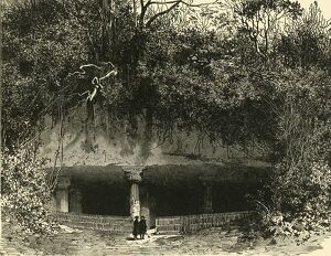 entrance cave elephanta bombay presidency 1890