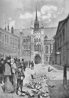'The Guildhall, Front Exit', 1891. Artist: William Luker.