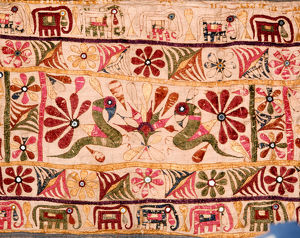 Detail of a hanging which was traditionally made by a mother for the marriage of