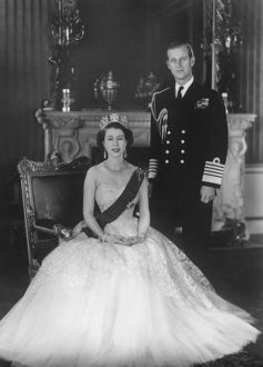 HM Queen Elizabeth II and HRH Duke of Edinburgh at Buckingham Palace, 12th March 1953