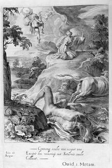 Io changed into a cow: Mercury cuts off Argus' head, 1655. Artist: Michel de Marolles
