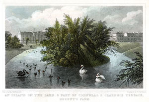 Island on the lake and Part of Cornwall and Clarence Terraces, Regent's Park, London, 1828