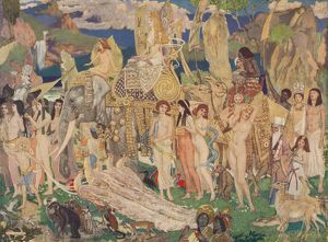 'Ivory, Apes and Peacocks (The Queen of Sheba)', c1909. Artist: John Duncan.