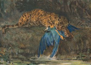 'Jaguar and Macaw', late 19th century. Artist: John MacAllan Swan.