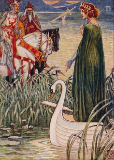 'King Arthur asks the Lady of the Lake for the sword Excalibur', 1911. Artist