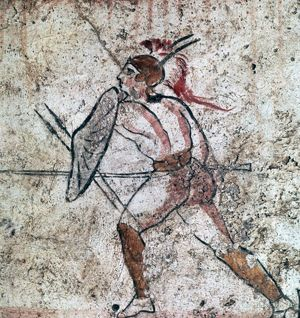 lucanian wall painting warrior 4th century artist