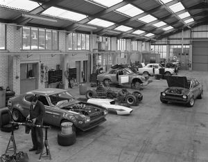 Modified Fords during race preparation, Littleborough, Greater Manchester, 1972. Artist