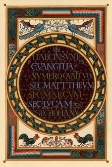 Names of the four Evangelists, c800 AD. Artist: Unknown