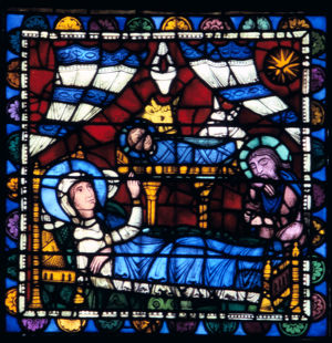 nativity stained glass chartres cathedral france