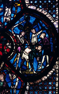 pilgrim attacked thieves stained glass chartres