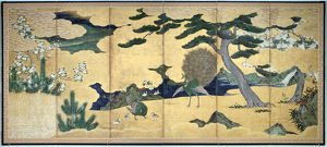 'Pines and Peacocks', Japanese Edo period, early 17th century. Artist: Anon