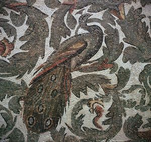 Roman mosaic of a peacock in foliage, 3rd century. Artist: Unknown