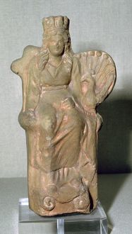 Roman terracotta figure of the goddess Juno, with a Peacock, 1st century. Artist: Unknown