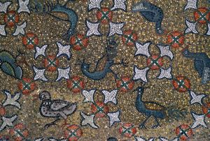 Roof mosaic of peacocks and other birds, 6th century. Artist: Unknown