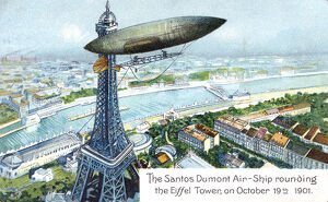 'The Santos Dumont Air-ship rounding the Eiffel Tower, on October 19th 1901', (c1910)