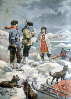The search for the 1897 Andree expedition to the North Pole. Artist: Unknown