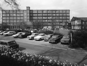 A selection of 1960s cars in a car park, York, North Yorkshire, May 1969. Artist