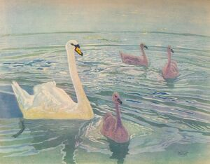 'Swan and Cygnets', 1911, (1928). Artist: William Giles.