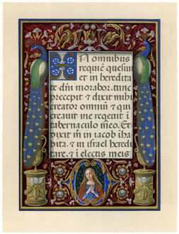 Text page with the Virgin and two peacocks, c1490. Artist: Unknown