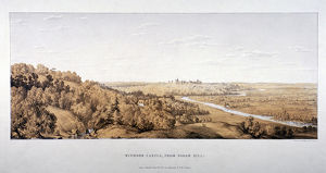 View of Windsor Castle from Egham Hill, Berkshire, 1851. Artist: Standidge & Co
