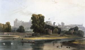 Windsor Castle from the River Thames at Eton, c1827-30. Creator: William Daniell