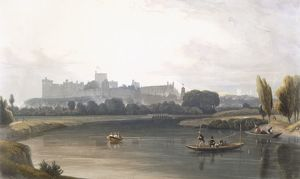 Windsor Castle from the River Thames: a West view, and fishing from punts, c1827-30
