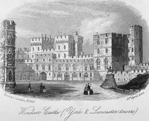 The York and Lancaster towers at Windsor Castle, Berkshire, 1860. Artist: Anon