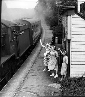 Waving to the train
