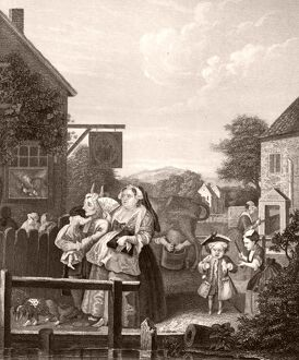 Evening - London - engraving by William Hogarth, English painter and artist