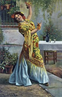 Spanish flamenco dancer dancing