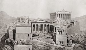 The Acropolis, Athens, Greece As It Would Have Appeared In Ancient Times