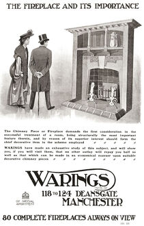 vintage/ad early 20th century fireplace mansions england