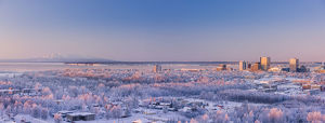 Aerial View Of Downtown Anchorage At Sunset, Hoarfrost On The Trees, Alpenglow On