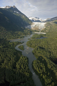 Aerial View Of Herbert Glacier And Herbert River As It Winds Its Way Down From The