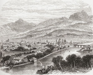 Aerial View Of Innsbruck, Tyrol, Austria In The 19Th Century