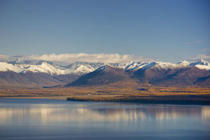 Aerial View Of Knik Arm Looking South Towards The Chugach Mountains During Fall In